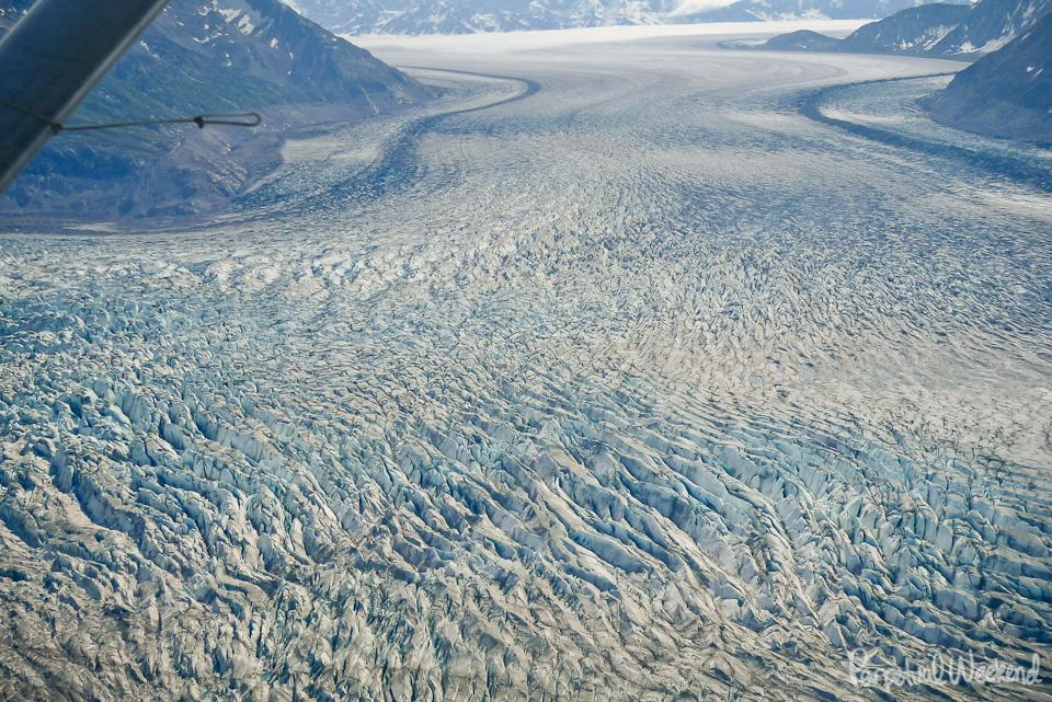 tana glacier aerial view