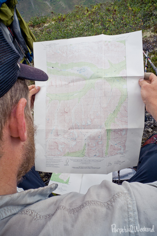 topographic map reading in wrangell st elias national park, alaska