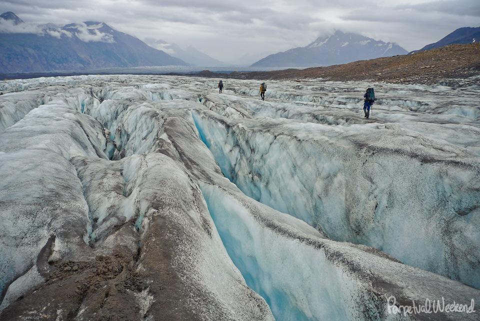 unroped glacier hiking backpacking alaska