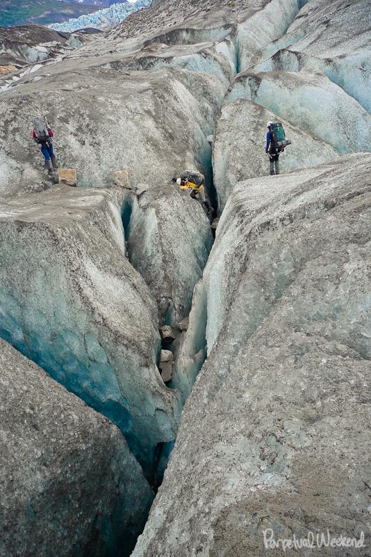 alaska canyoneering crampons glacier crevasse
