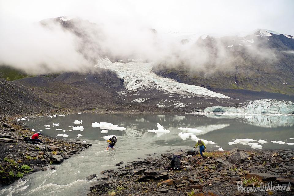iceberg alaska lake crossing hike backpack wilderness
