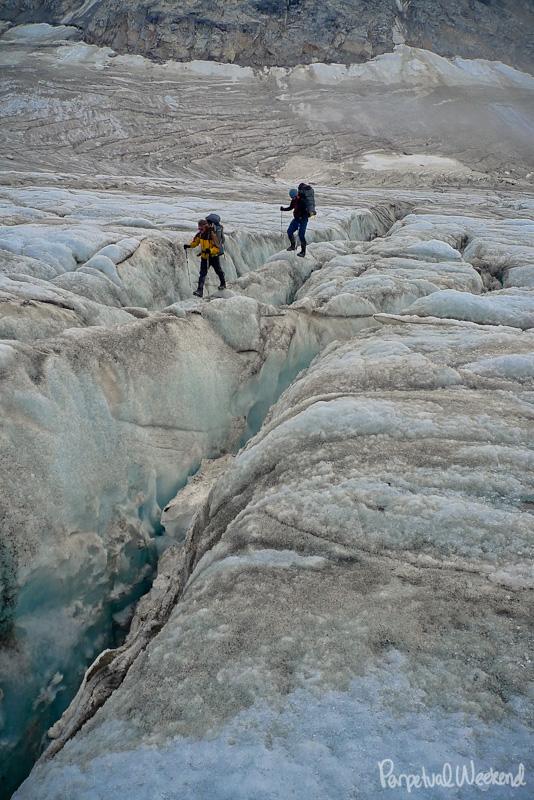 snowbridge crossing, crevasse, glacier, alaska