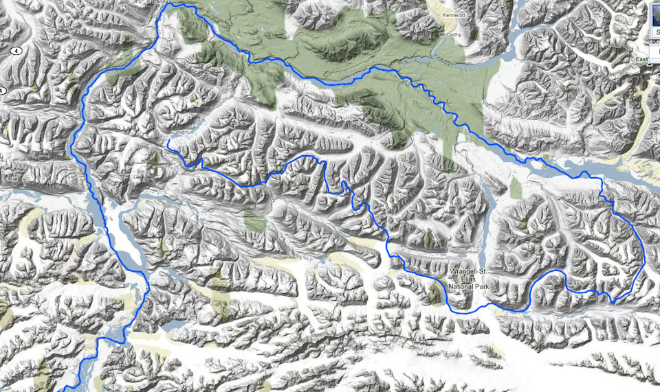 southern spiral wrangell st elias hike traverse backpack map route