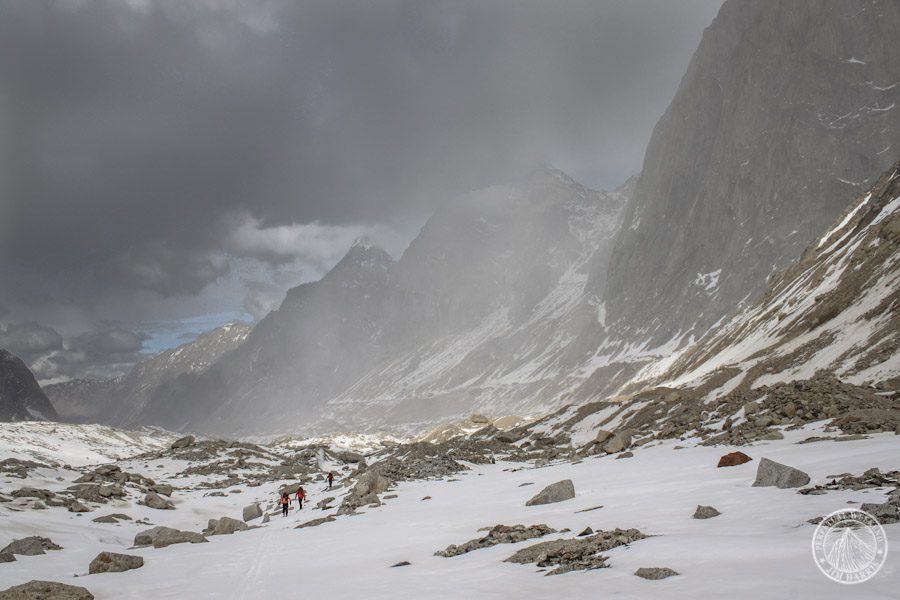 Noah, Andrew, and Courtney ski through moraines on the Revelation Glacier.