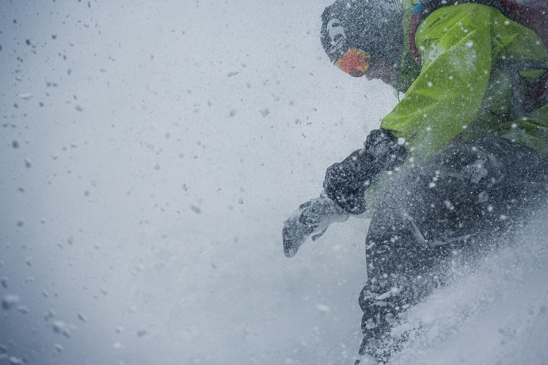 Neil Provo gets barreled on a Cascade storm day above Holden Village, Washington