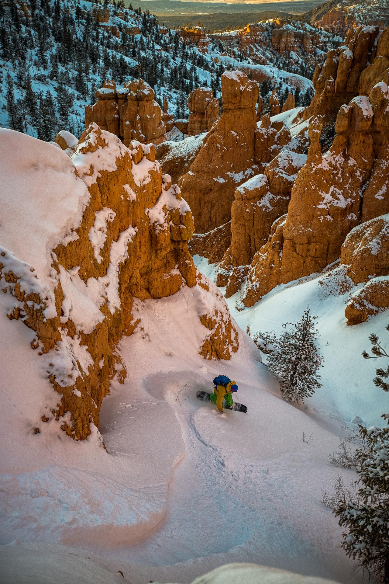 Kyle Miller skiing in the desert on Red Mountain, Utah