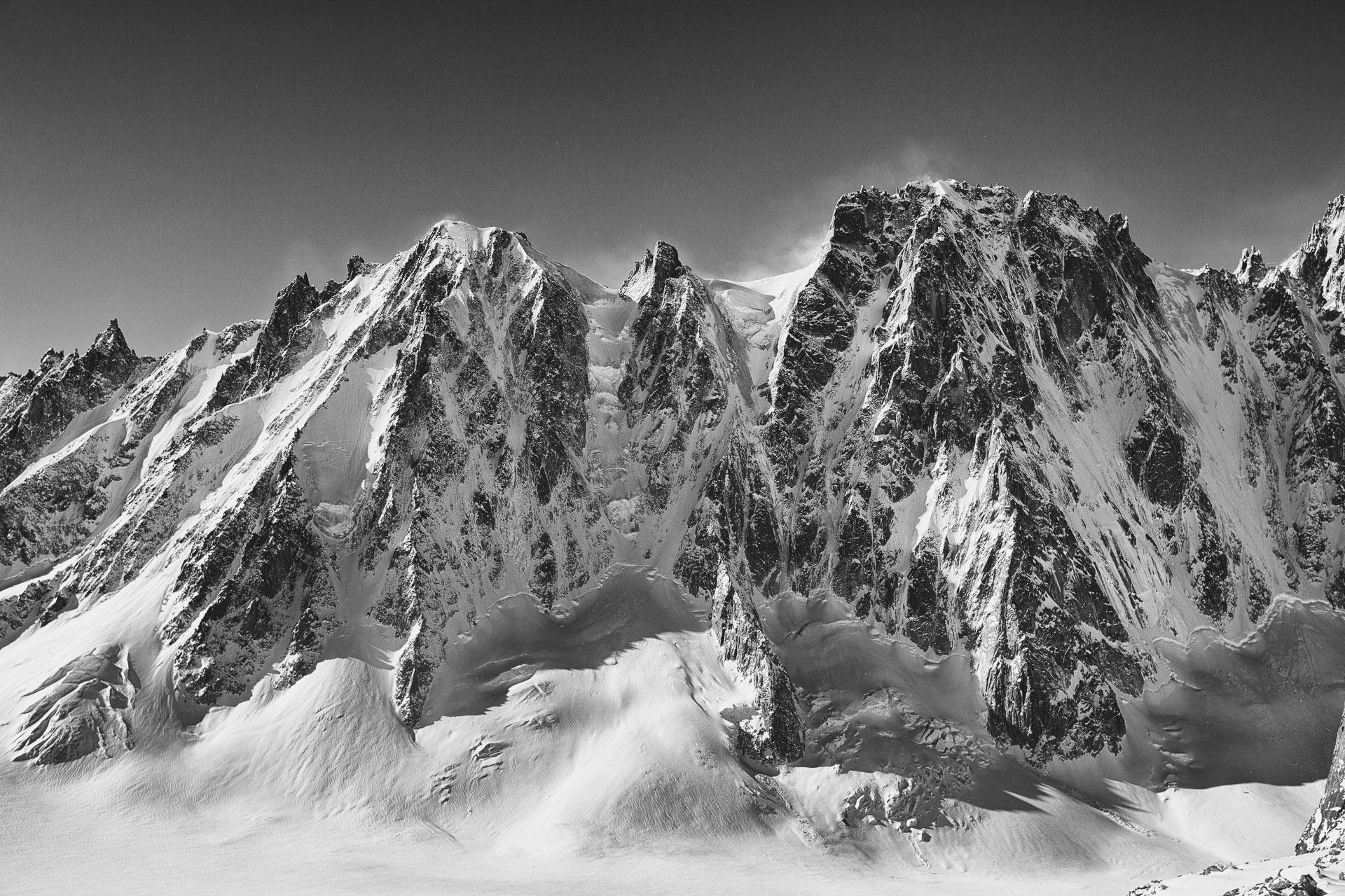 Les Droites and Grande Rocheuse above glacier d'Argentiere