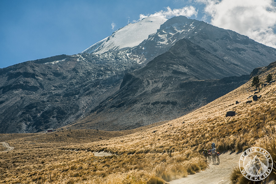 Hike-a-bike to the refugio with Orizaba looming ~5000 ft above