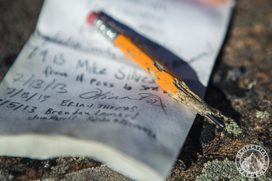 Summit register on one of Twin Sister Peaks, Sangre de Cristo mountains, CO