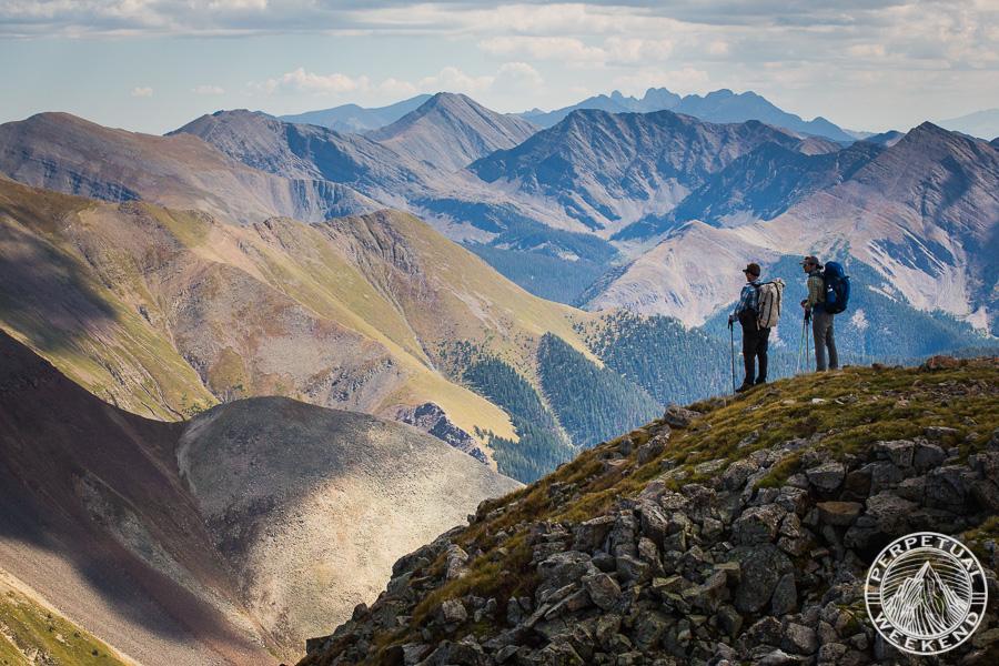 Jim Harris and Brendan Leonard on Cottonwood Peak, Sangre de Cristo range, CO